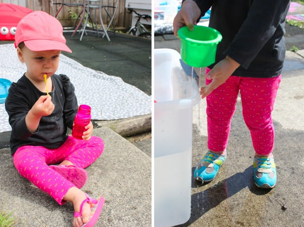 Blowin bubbles and water fun