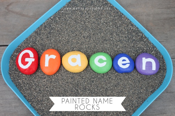 Painted Name Rocks | Mama Papa Bubba