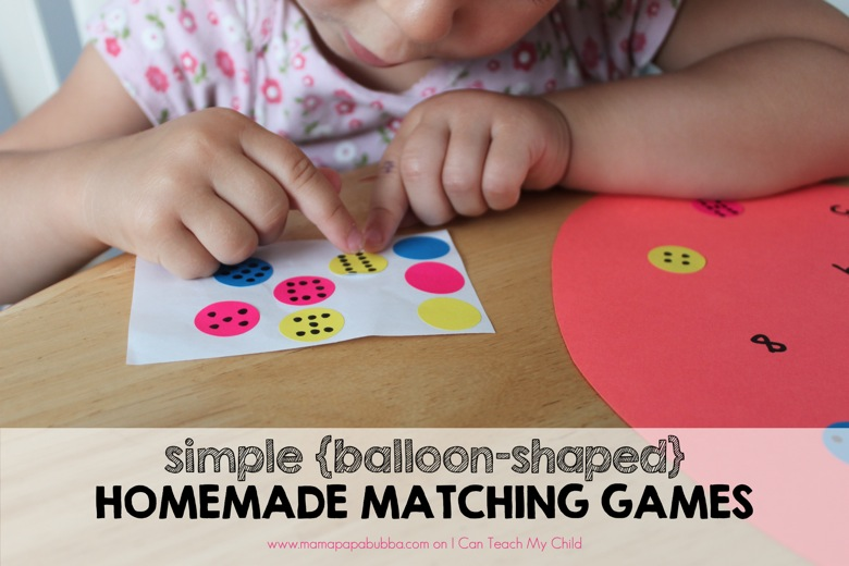 Simple  balloon shaped Homemade Matching Games | Mama Papa Bubba