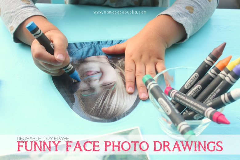 Reusable Dry Erase Funny Face Photo Drawings | Mama Papa Bubba